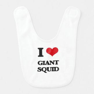 Amo el calamar gigante baberos de bebé