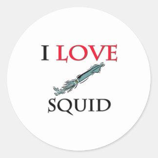 Amo el calamar pegatina redonda