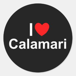 Amo el Calamari (del corazón) Pegatina Redonda