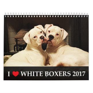 Amo el calendario blanco de los boxeadores 2017