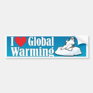 Amo el calentamiento del planeta etiqueta de parachoque
