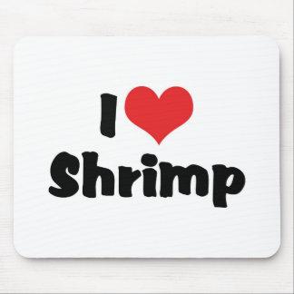 Amo el camarón del corazón - amante del marisco alfombrillas de ratón