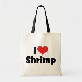 Amo el camarón del corazón - amante del marisco bolsa tela barata