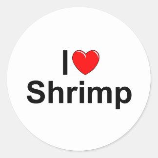 Amo el camarón (del corazón) pegatina redonda