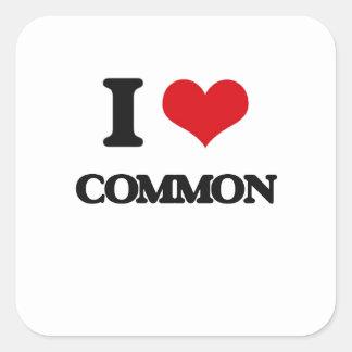 Amo el campo común calcomanías cuadradas personalizadas