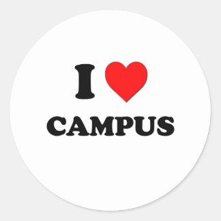 Amo el campus pegatina redonda