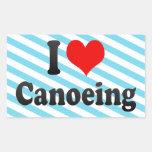 Amo el Canoeing Rectangular Pegatina