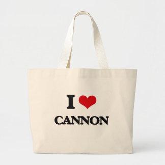 Amo el cañón bolsa tela grande