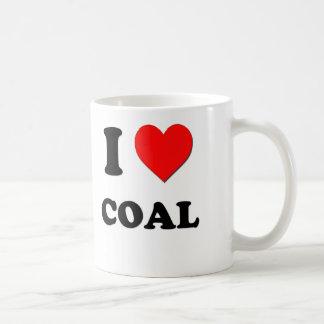 Amo el carbón taza básica blanca