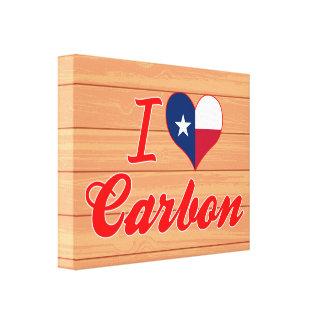 Amo el carbono Tejas Impresión En Lona