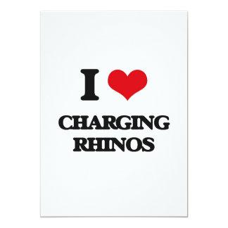 """Amo el cargar de Rhinos Invitación 5"""" X 7"""""""