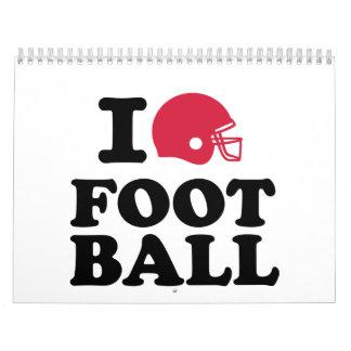 Amo el casco de fútbol americano calendario de pared