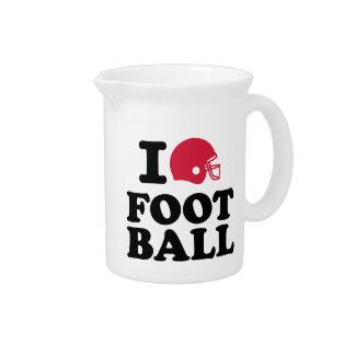 Amo el casco de fútbol americano jarra para bebida