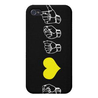 Amo el caso del iPhone del ASL (lenguaje de signos iPhone 4 Coberturas