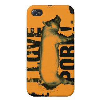 Amo el caso del iphone G4 del cerdo iPhone 4 Fundas
