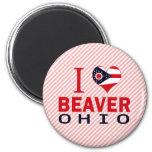 Amo el castor, Ohio Imanes Para Frigoríficos