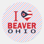 Amo el castor, Ohio Pegatina Redonda