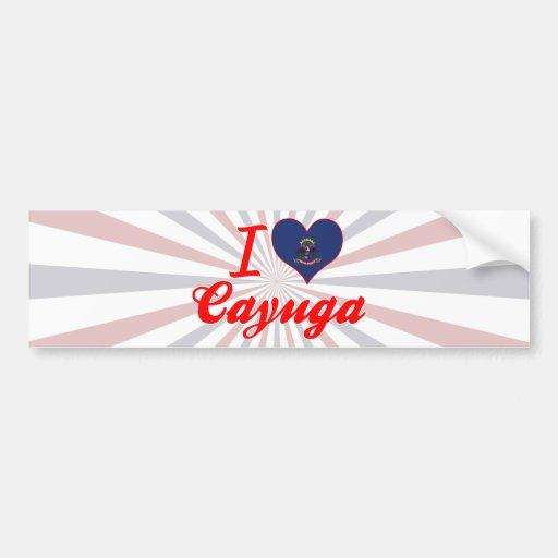 Amo el Cayuga, Dakota del Norte Pegatina De Parachoque