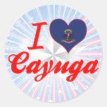 Amo el Cayuga, Dakota del Norte Etiquetas Redondas