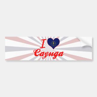Amo el Cayuga, Indiana Etiqueta De Parachoque