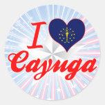 Amo el Cayuga, Indiana Pegatina Redonda