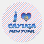 Amo el Cayuga, Nueva York Pegatina Redonda