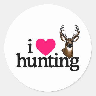 Amo el cazar pegatina redonda