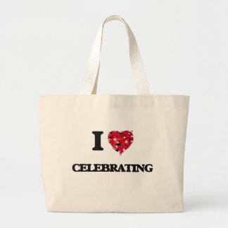 Amo el celebrar bolsa tela grande