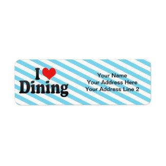 Amo el cenar etiqueta de remitente