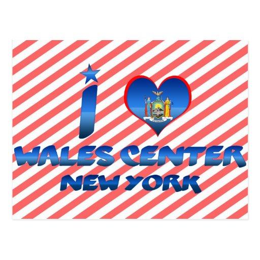 Amo el centro de País de Gales, Nueva York Tarjetas Postales