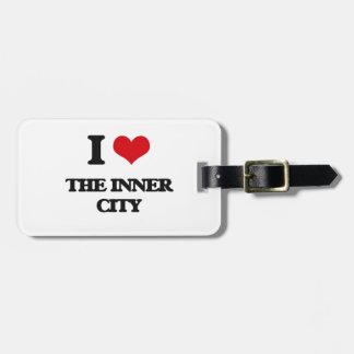 Amo el centro urbano etiqueta de equipaje