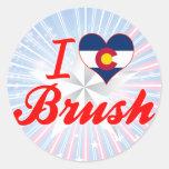 Amo el cepillo, Colorado Etiqueta Redonda