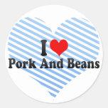 Amo el cerdo y habas pegatinas redondas