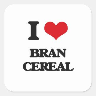 Amo el cereal del salvado pegatina cuadrada