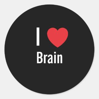 Amo el cerebro pegatina redonda