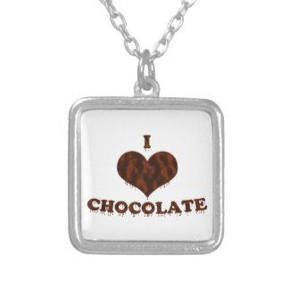 Amo el chocolate colgante cuadrado