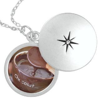 Amo el chocolate collar de plata de ley