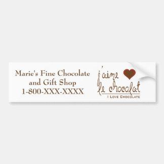 ¡Amo el chocolate, en francés! Pegatina Para Coche