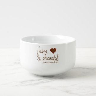 Amo el chocolate, en francés cuenco para sopa