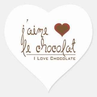 ¡Amo el chocolate, en francés! Pegatina En Forma De Corazón