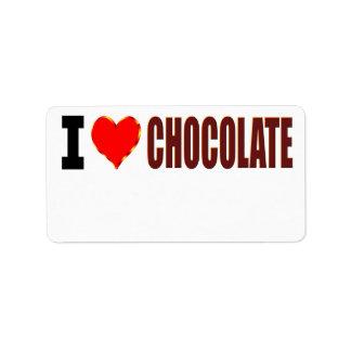 Amo el chocolate etiquetas de dirección