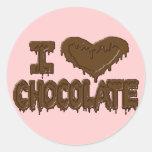 Amo el chocolate etiquetas redondas