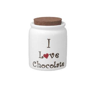 Amo el chocolate jarra para caramelo