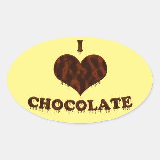 Amo el chocolate pegatina ovalada