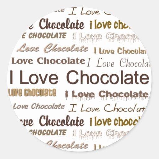 Amo el chocolate pegatina redonda