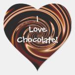 ¡Amo el chocolate! Pegatinas del corazón Calcomanía Corazón Personalizadas