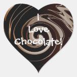 ¡Amo el chocolate! Pegatinas del corazón Calcomanía De Corazón Personalizadas