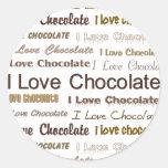 Amo el chocolate pegatinas redondas