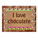 Amo el chocolate tarjeta postal