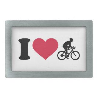 Amo el ciclo de la bici hebilla de cinturon rectangular